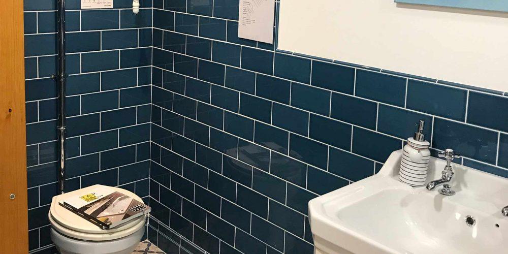 blue tiled showroom