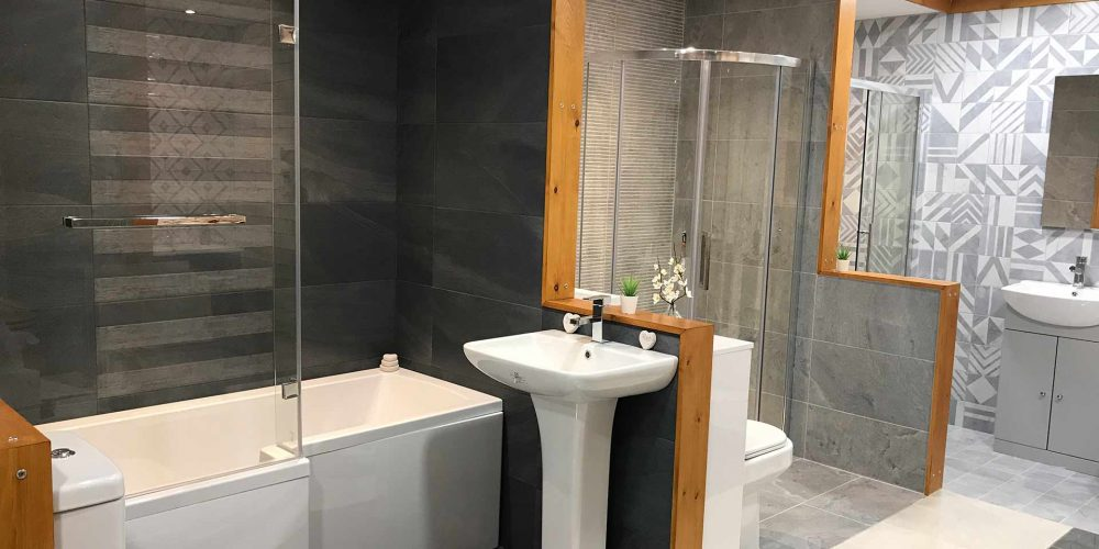 showroom of tiled bathrooms